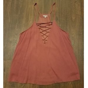 Charlotte Russe Maroon Lace Up Detail Tank